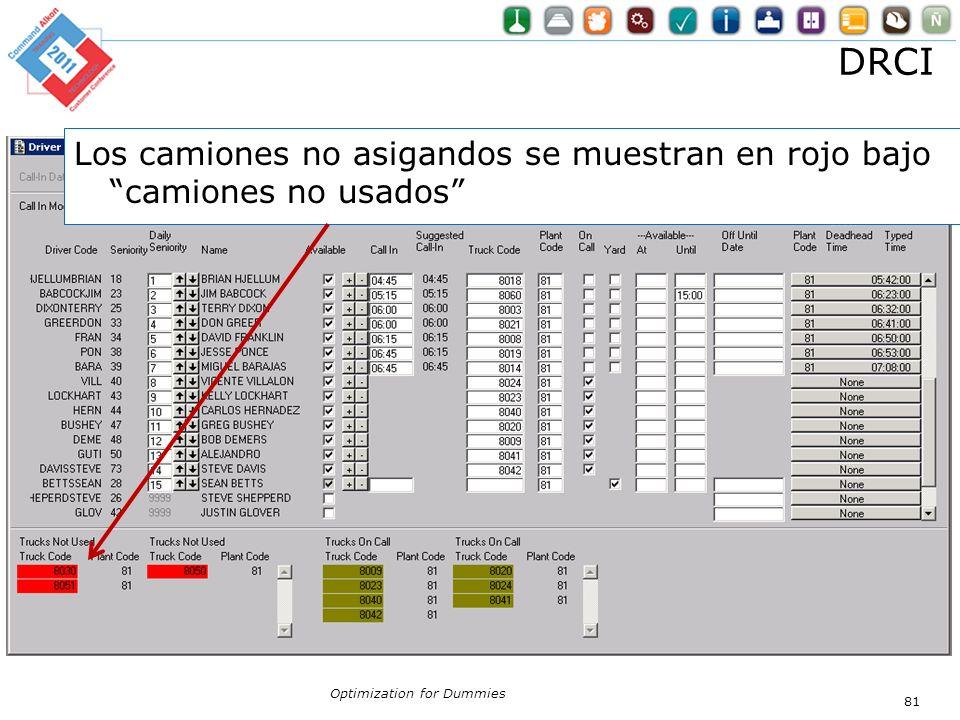 DRCI Optimization for Dummies 81 Los camiones no asigandos se muestran en rojo bajo camiones no usados