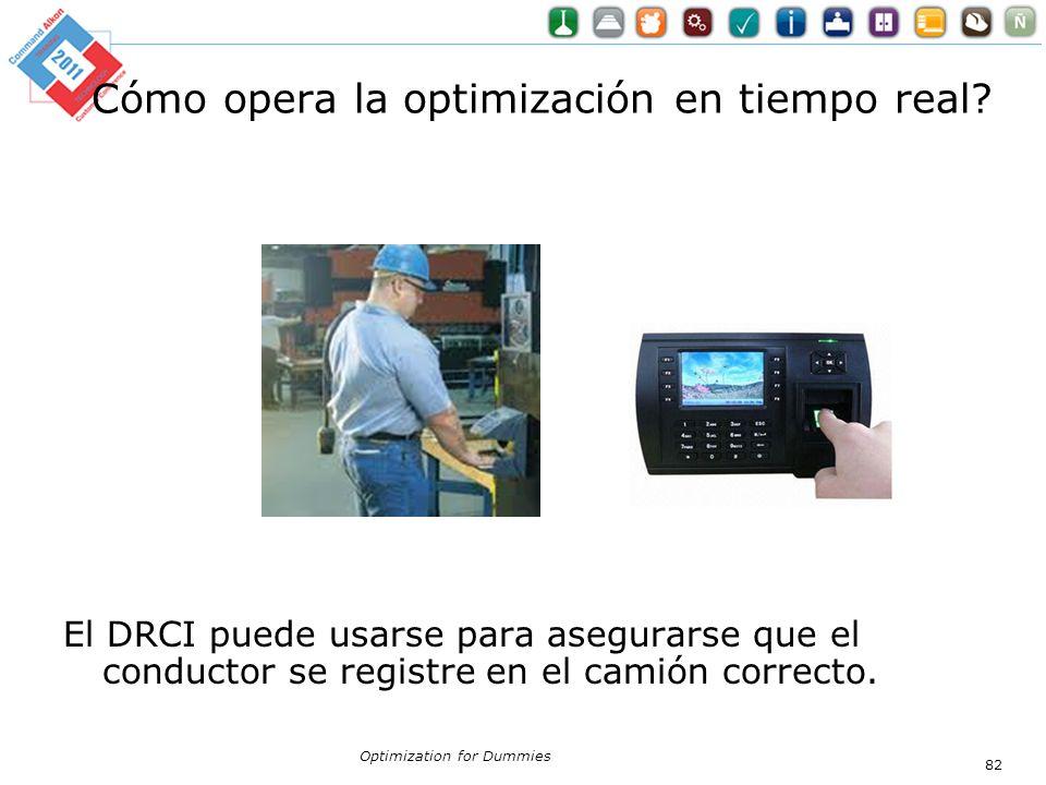 Cómo opera la optimización en tiempo real? El DRCI puede usarse para asegurarse que el conductor se registre en el camión correcto. Optimization for D