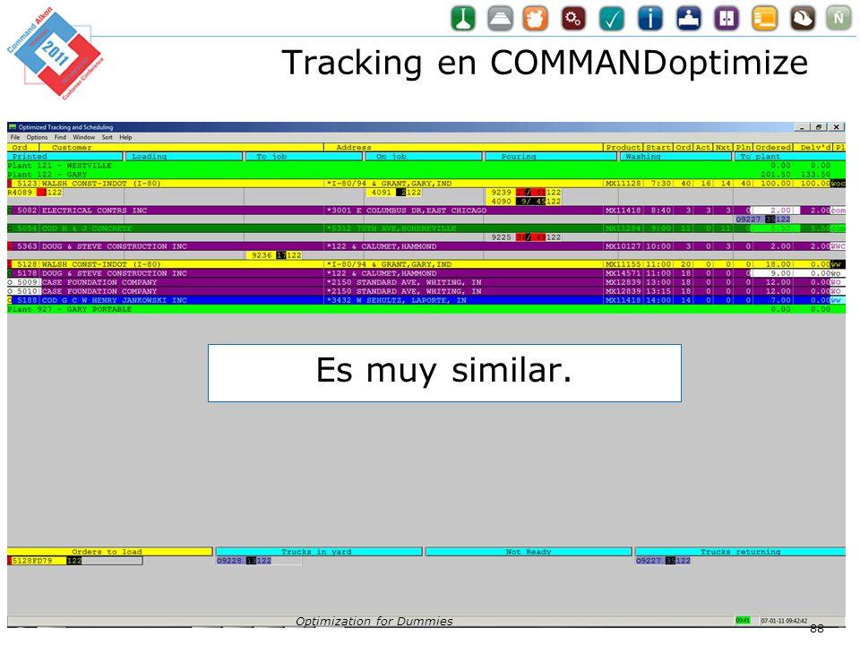 Tracking en COMMANDoptimize Optimization for Dummies 88 Es muy similar.