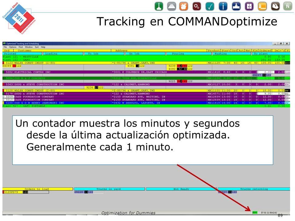 Tracking en COMMANDoptimize Optimization for Dummies 89 Un contador muestra los minutos y segundos desde la última actualización optimizada. Generalme