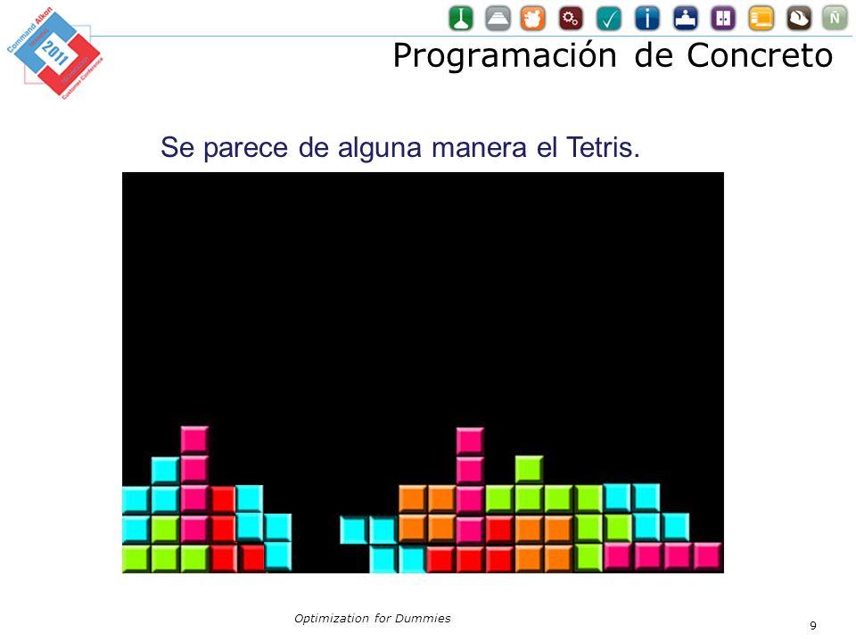 Programación de Concreto Optimization for Dummies 9 Se parece de alguna manera el Tetris.