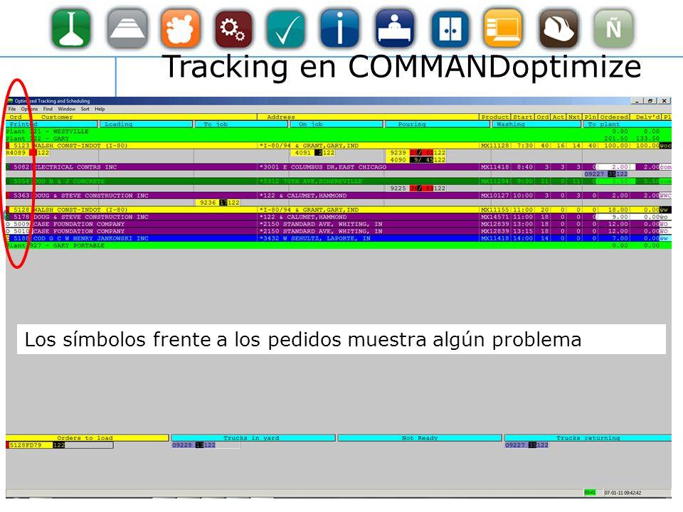 Tracking en COMMANDoptimize Los símbolos frente a los pedidos muestra algún problema