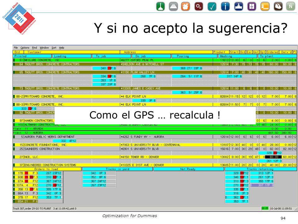 Y si no acepto la sugerencia? Como el GPS … recalcula ! Optimization for Dummies 94