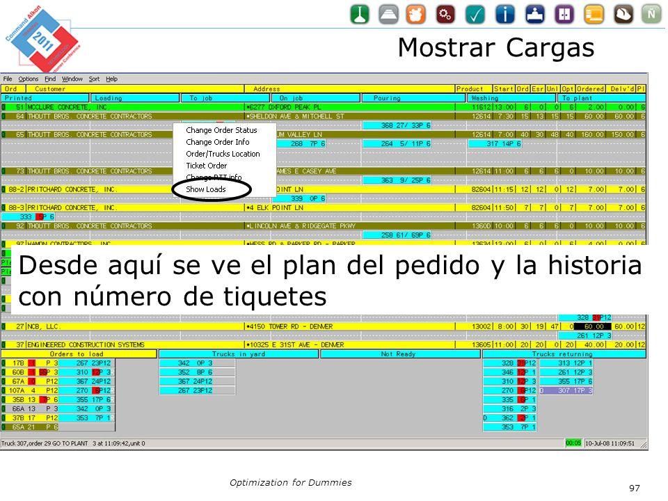 Optimization for Dummies 97 Mostrar Cargas Desde aquí se ve el plan del pedido y la historia con número de tiquetes
