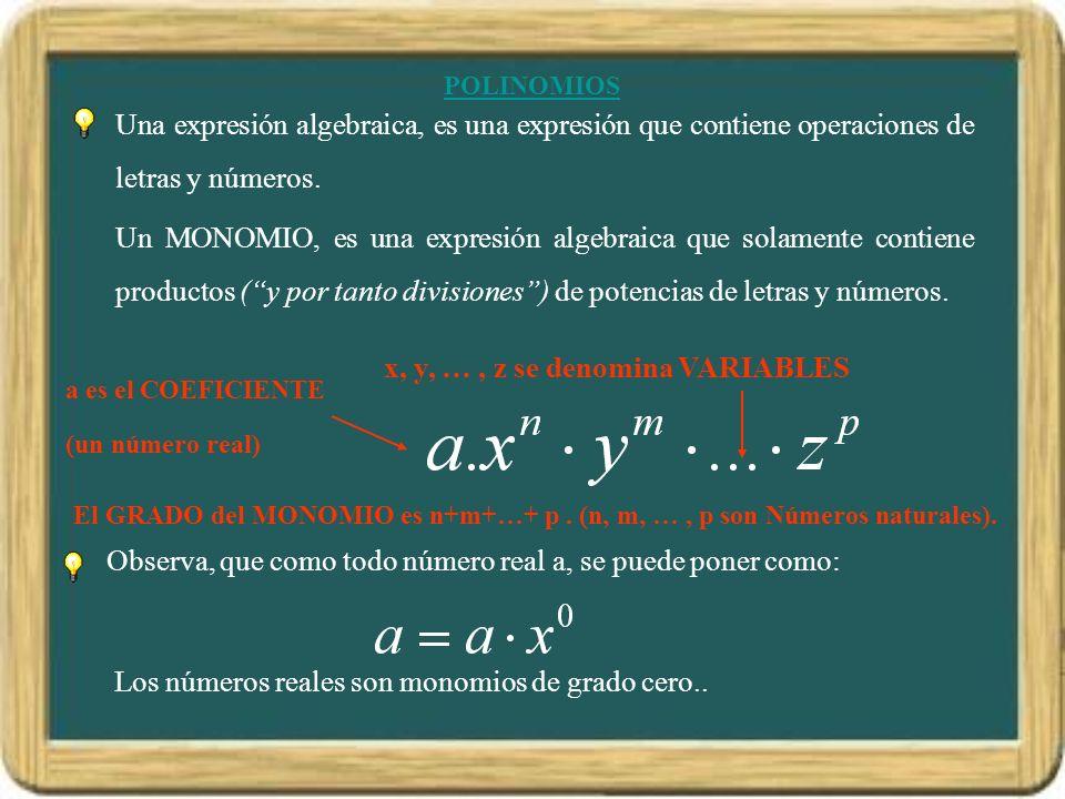 POLINOMIOS a es el COEFICIENTE (un número real) x, y, …, z se denomina VARIABLES Observa, que como todo número real a, se puede poner como: Los números reales son monomios de grado cero..