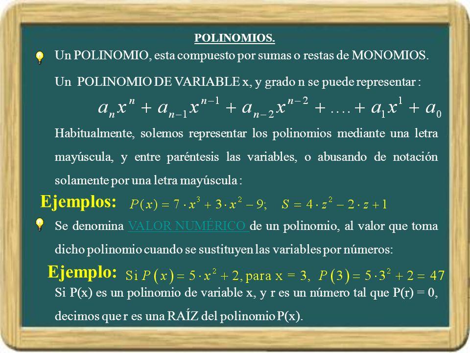 POLINOMIOS.Un POLINOMIO, esta compuesto por sumas o restas de MONOMIOS.