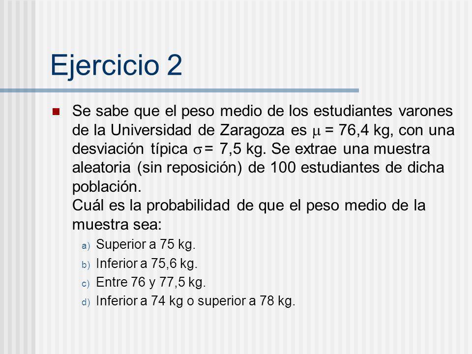 Ejercicio 2 Se sabe que el peso medio de los estudiantes varones de la Universidad de Zaragoza es = 76,4 kg, con una desviación típica = 7,5 kg. Se ex