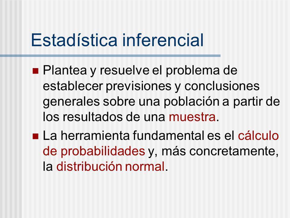Estadística inferencial Plantea y resuelve el problema de establecer previsiones y conclusiones generales sobre una población a partir de los resultad