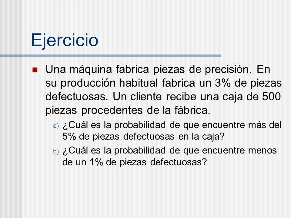 Ejercicio Una máquina fabrica piezas de precisión. En su producción habitual fabrica un 3% de piezas defectuosas. Un cliente recibe una caja de 500 pi