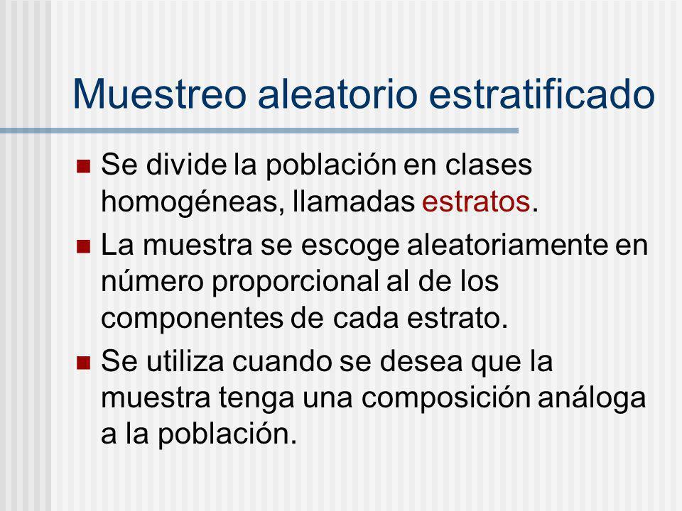Muestreo aleatorio estratificado Se divide la población en clases homogéneas, llamadas estratos. La muestra se escoge aleatoriamente en número proporc