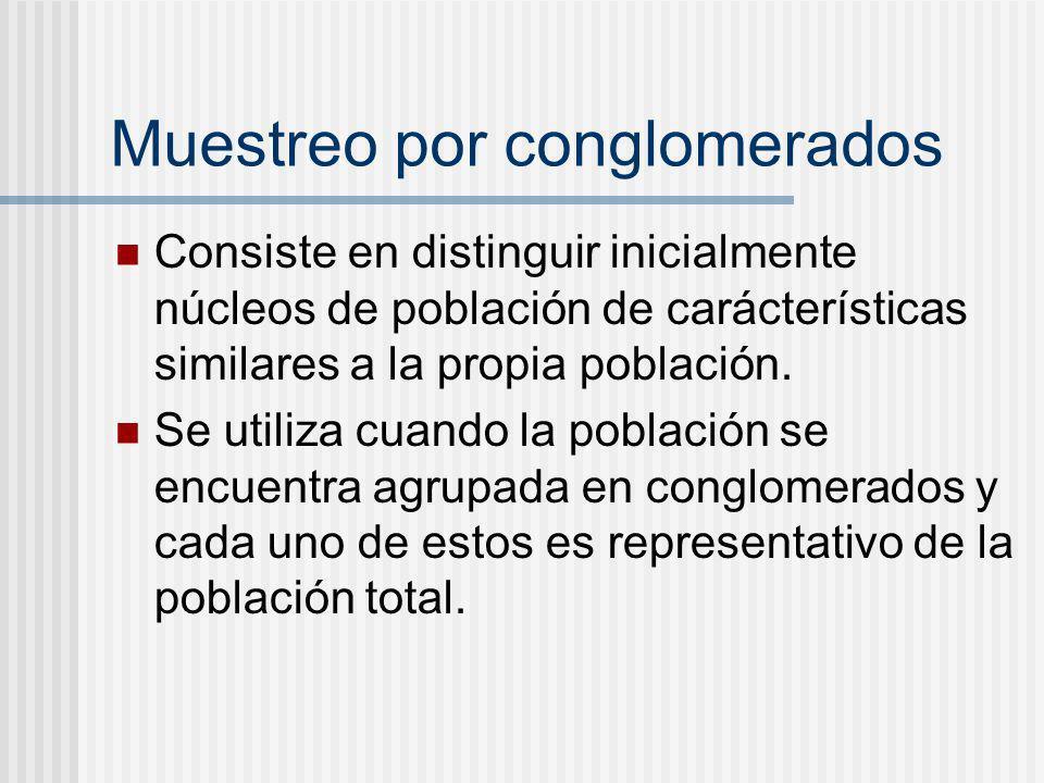 Muestreo por conglomerados Consiste en distinguir inicialmente núcleos de población de carácterísticas similares a la propia población. Se utiliza cua