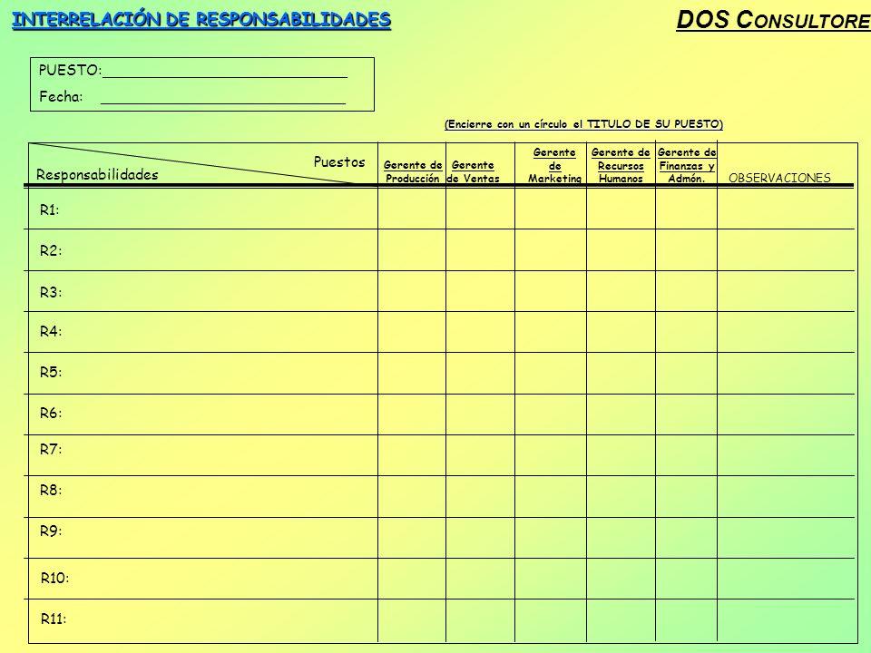 DOS C ONSULTORES INTERRELACIÓN DE RESPONSABILIDADES PUESTO:___________________________ Fecha: ___________________________ Responsabilidades Puestos Ge
