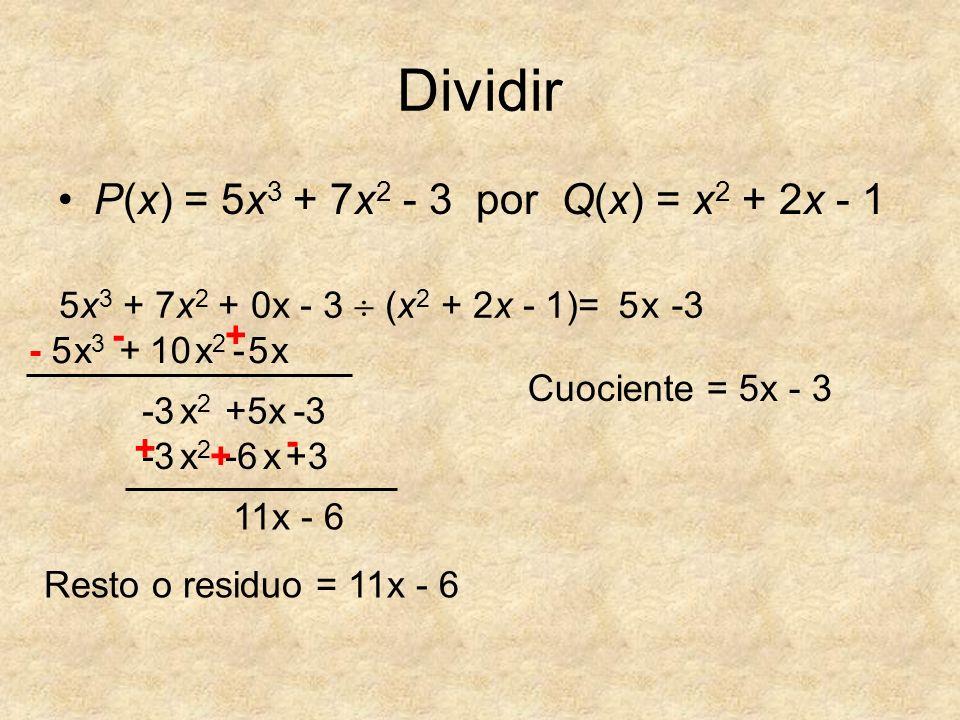 Dividir P(x) = 5x 3 + 7x 2 - 3 por Q(x) = x 2 + 2x - 1 5x 3 + 7x 2 + 0x - 3 (x 2 + 2x - 1)= 5 x3x3 5 11x + x 10x2x2 x5- +- - -3 x2x2 +5x +3 -3 x2x2 -6