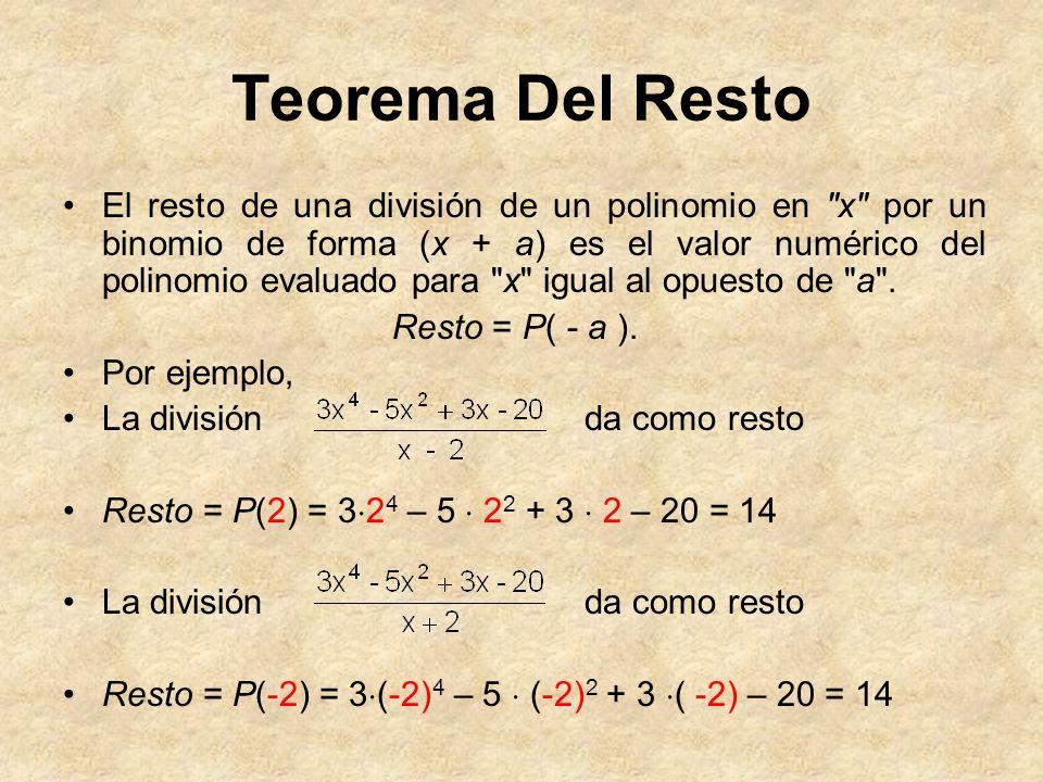 Teorema Del Resto El resto de una división de un polinomio en