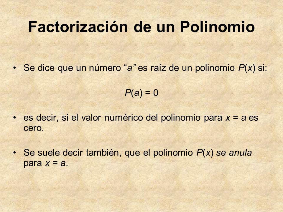 Factorización de un Polinomio Se dice que un número a es raíz de un polinomio P(x) si: P(a) = 0 es decir, si el valor numérico del polinomio para x =