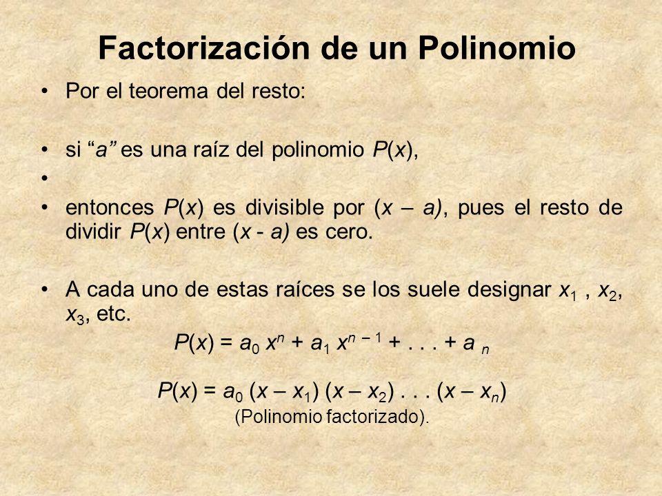 Factorización de un Polinomio Por el teorema del resto: si a es una raíz del polinomio P(x), entonces P(x) es divisible por (x – a), pues el resto de