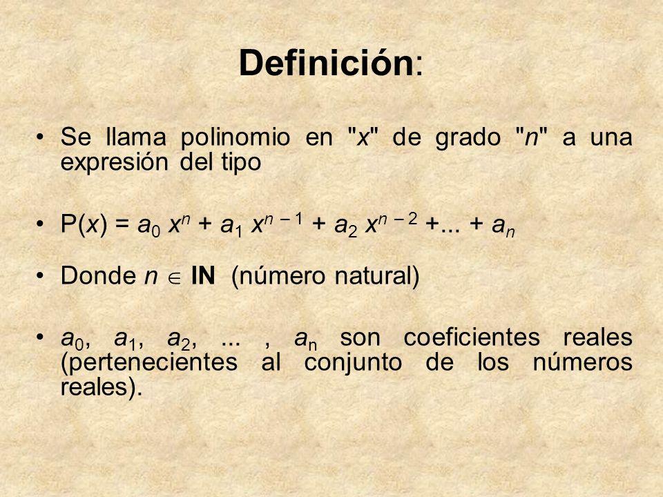 Grado de un polinomio: es el exponente del término que posee el valor de potencia más alto.