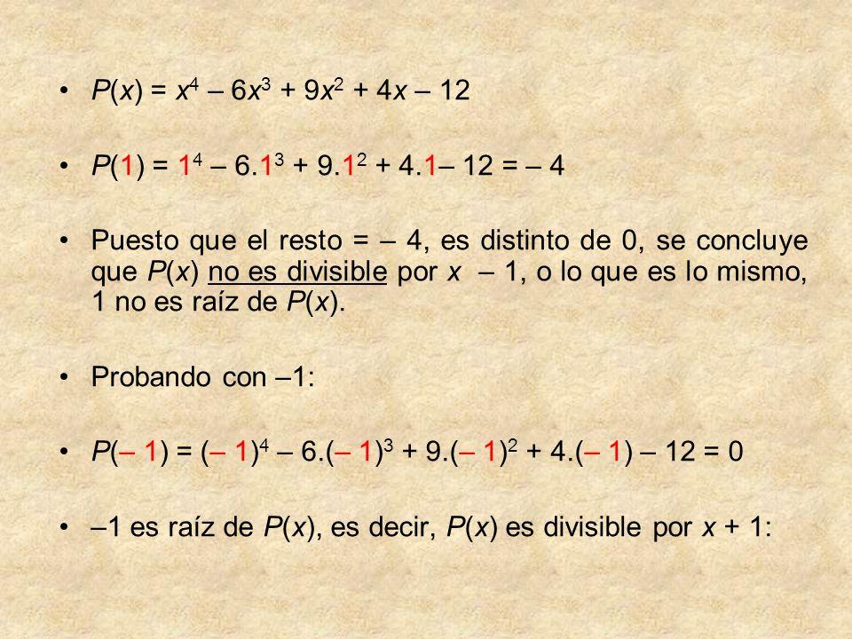 P(x) = x 4 – 6x 3 + 9x 2 + 4x – 12 P(1) = 1 4 – 6.1 3 + 9.1 2 + 4.1– 12 = – 4 Puesto que el resto = – 4, es distinto de 0, se concluye que P(x) no es