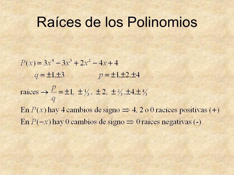 Raíces de los Polinomios