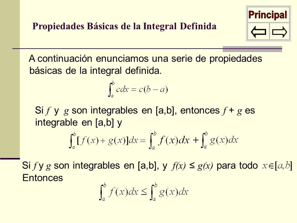 Propiedades Básicas de la Integral Definida A continuación enunciamos una serie de propiedades básicas de la integral definida. Si f y g son integrabl