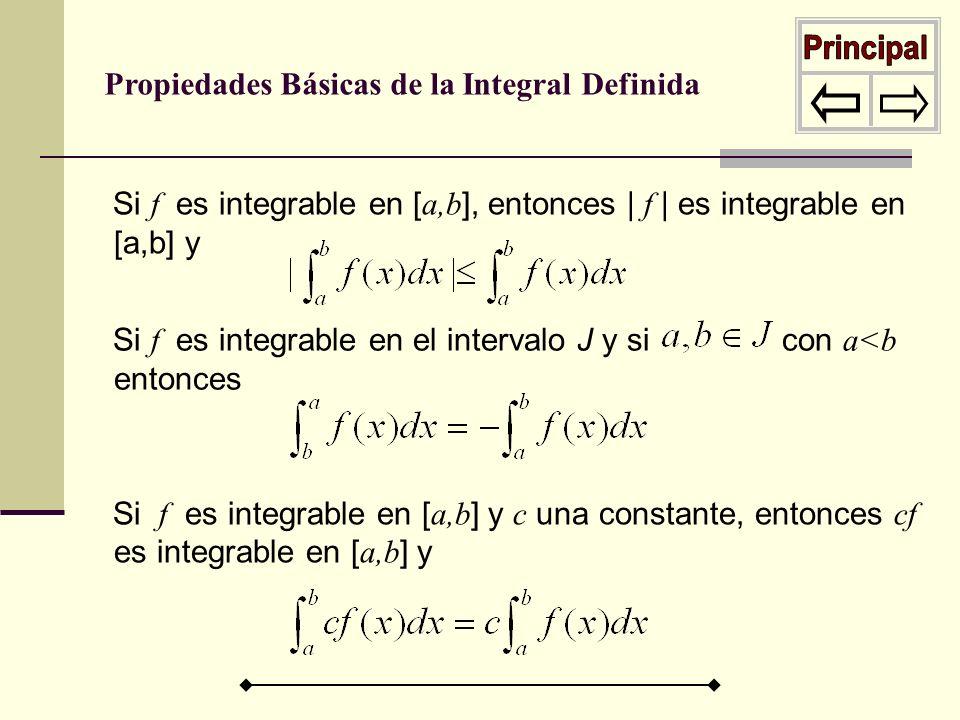 Si f es integrable en [ a,b ], entonces | f | es integrable en [a,b] y Si f es integrable en el intervalo J y si con a<b entonces Si f es integrable e