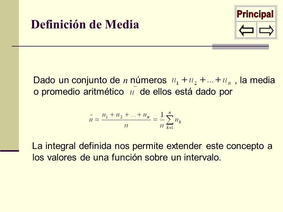 Dado un conjunto de n números, la media o promedio aritmético de ellos está dado por Definición de Media La integral definida nos permite extender est