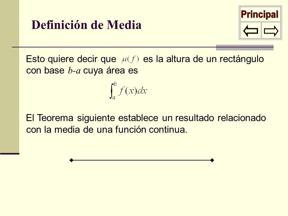 Esto quiere decir que es la altura de un rectángulo con base b-a cuya área es Definición de Media El Teorema siguiente establece un resultado relacion