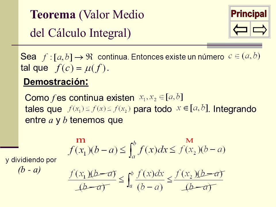 Teorema (Valor Medio del Cálculo Integral) Sea continua. Entonces existe un número tal que. Demostración : Como f es continua existen tales que para t