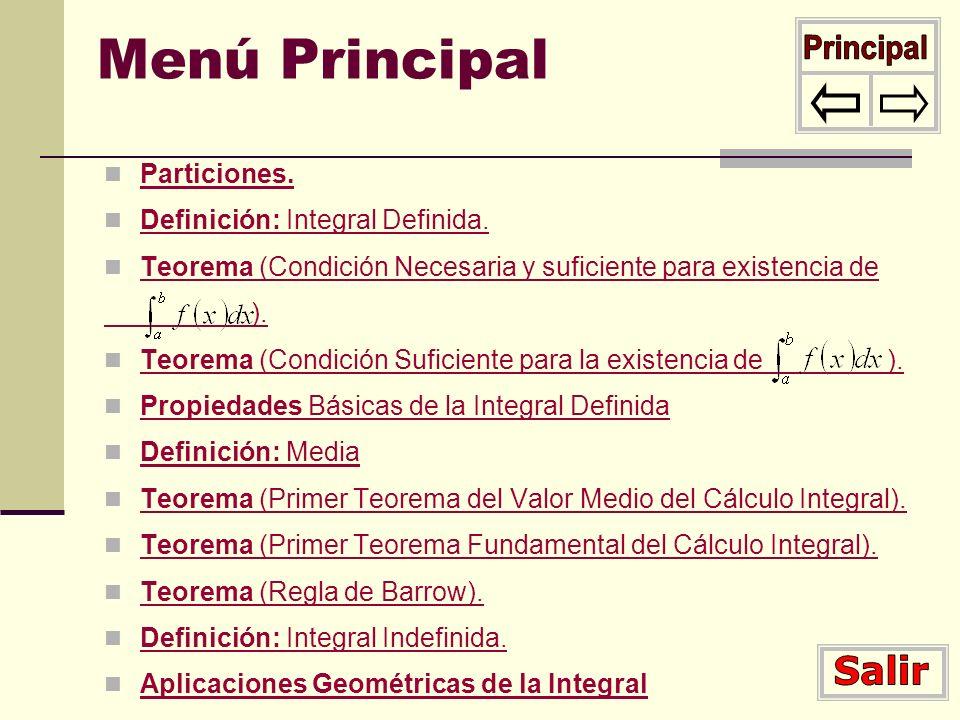 Menú Principal Particiones. Definición: Integral Definida. Definición: Integral Definida. Teorema (Condición Necesaria y suficiente para existencia de