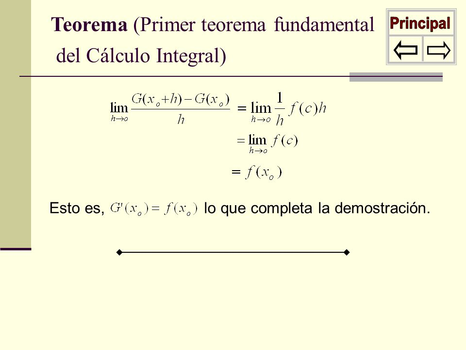 Esto es, lo que completa la demostración. Teorema (Primer teorema fundamental del Cálculo Integral)