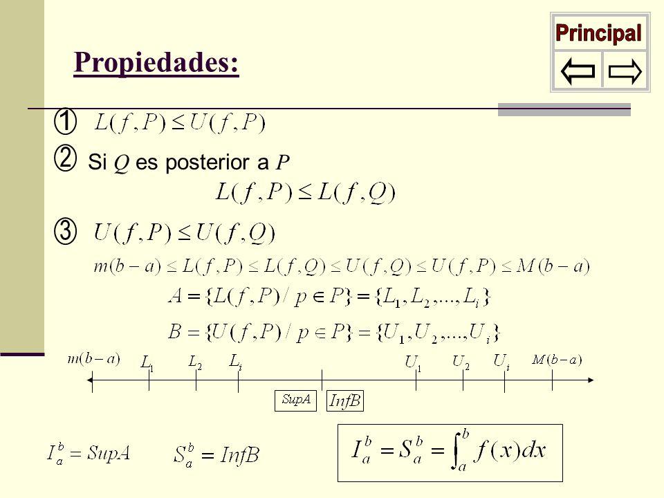 Propiedades: Si Q es posterior a P