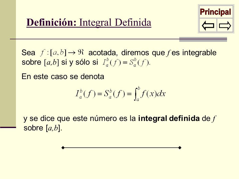 Definición: Integral Definida Sea acotada, diremos que f es integrable sobre [a,b] si y sólo si En este caso se denota y se dice que este número es la