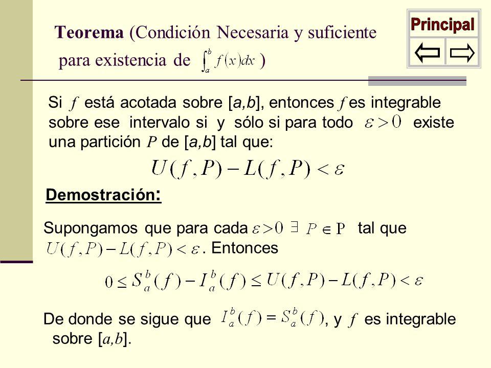 Si f está acotada sobre [a,b], entonces f es integrable sobre ese intervalo si y sólo si para todo existe una partición P de [a,b] tal que: Teorema (C