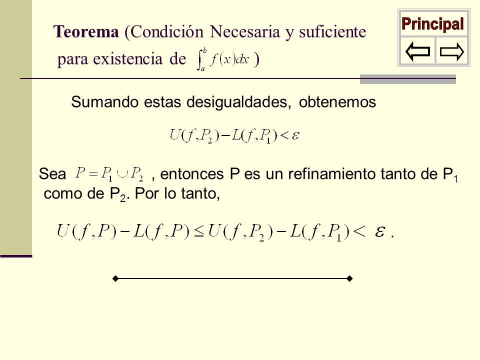 Teorema (Condición suficiente para existencia de ) La continuidad f continua sobre [ a,b ] implica que f es uniformemente continua sobre [ a,b ], y f acotada sobre [ a,b ], por lo tanto f tiene un máximo y mínimo sobre cada intervalo de [ a,b ].