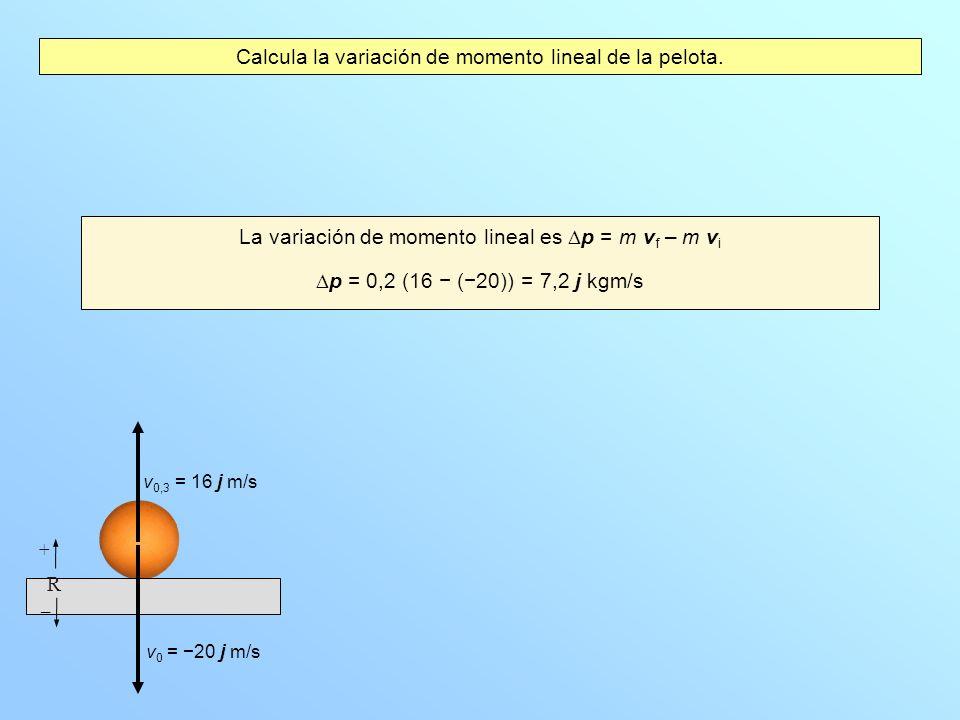 Calcula la variación de momento lineal de la pelota. La variación de momento lineal es p = m v f – m v i p = 0,2 (16 (20)) = 7,2 j kgm/s v 0 = 20 j m/