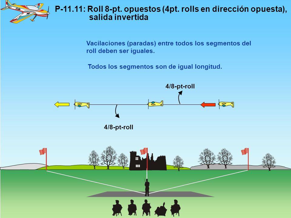 P-11.11: Roll 8-pt. opuestos (4pt. rolls en dirección opuesta), salida invertida 4/8-pt-roll Vacilaciones (paradas) entre todos los segmentos del roll