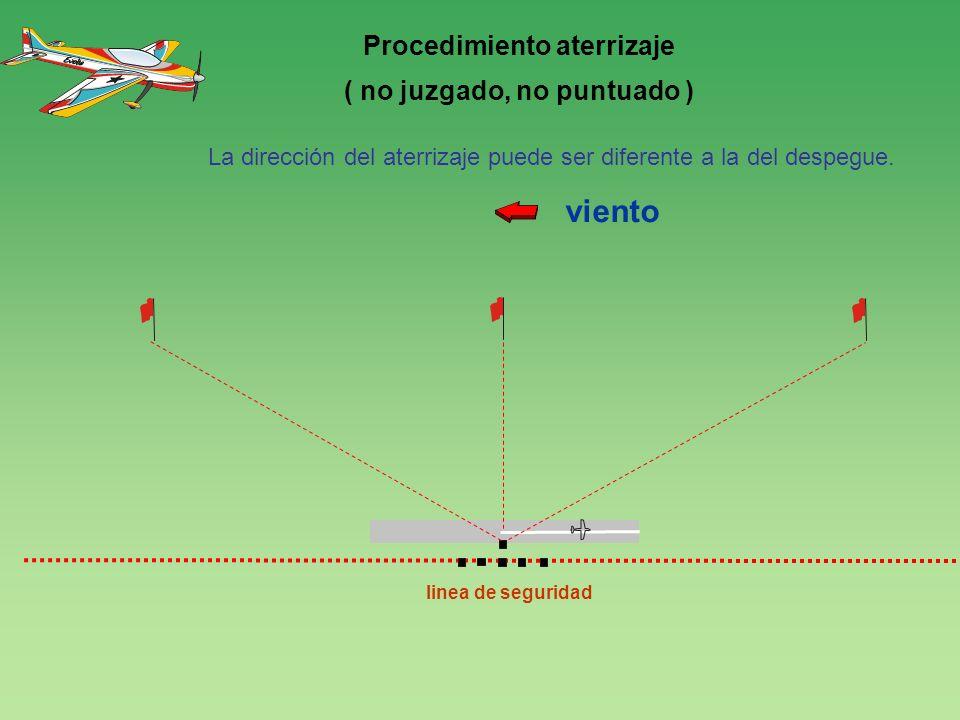 120 0 linea de seguridad viento 4 Procedimiento aterrizaje ( no juzgado, no puntuado ) La dirección del aterrizaje puede ser diferente a la del despeg