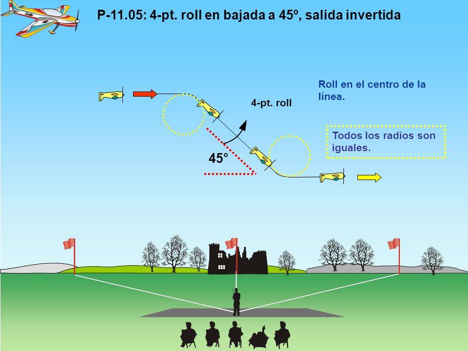P-11.05: 4-pt.roll en bajada a 45º, salida invertida Todos los radios son iguales.
