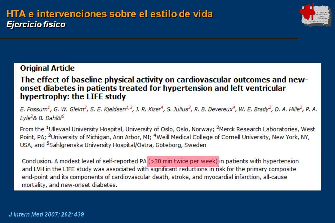 HTA e intervenciones sobre el estilo de vida Ejercicio físico J Intern Med 2007; 262: 439