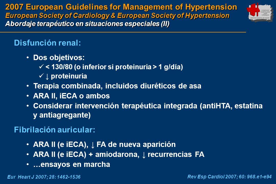2007 European Guidelines for Management of Hypertension European Society of Cardiology & European Society of Hypertension Abordaje terapéutico en situ