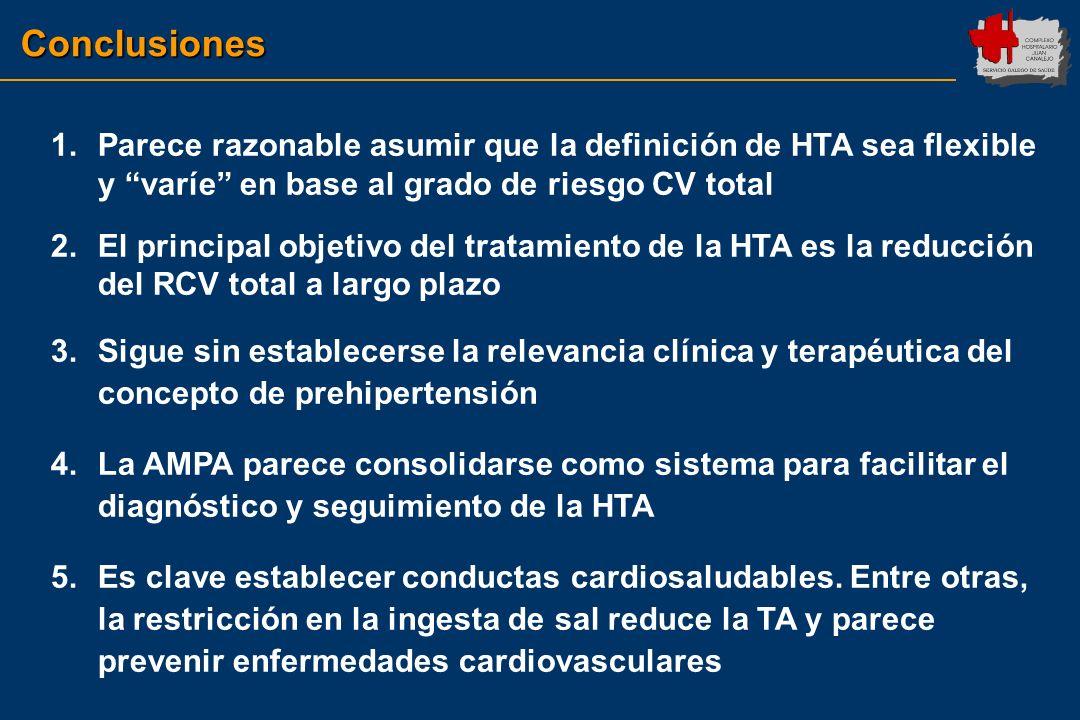 1.Parece razonable asumir que la definición de HTA sea flexible y varíe en base al grado de riesgo CV total 2.El principal objetivo del tratamiento de