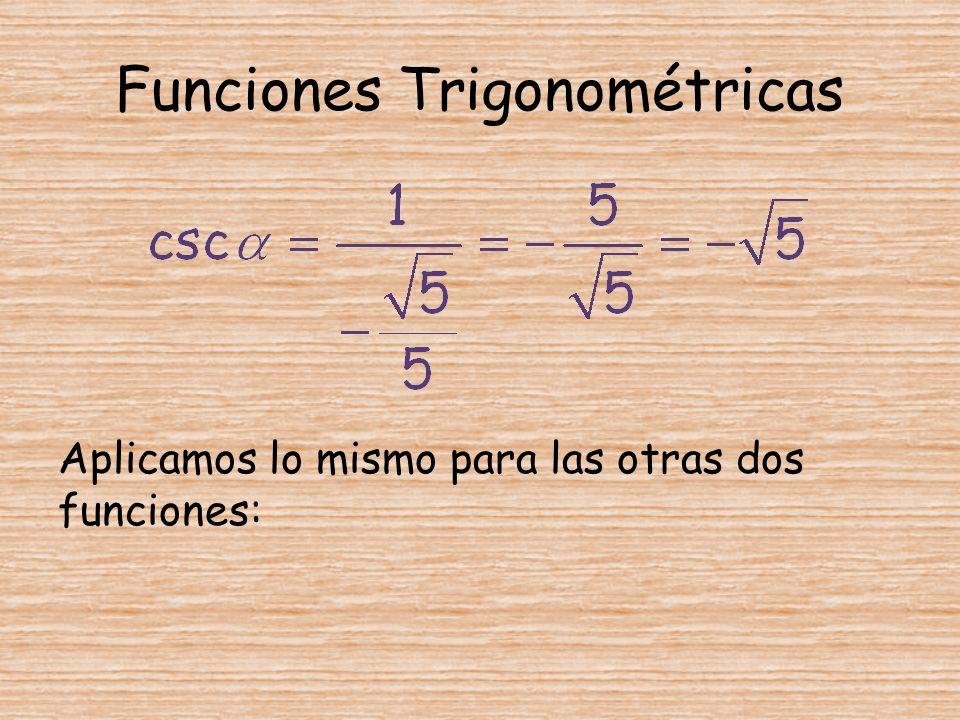 Funciones Trigonométricas Aplicamos lo mismo para las otras dos funciones:
