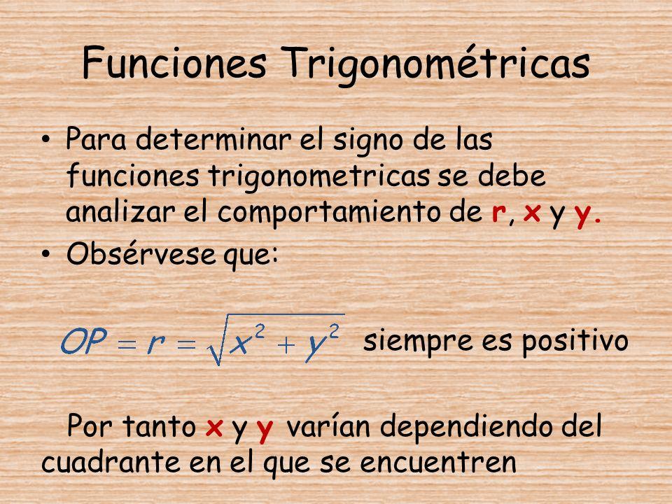 Funciones Trigonométricas Para determinar el signo de las funciones trigonometricas se debe analizar el comportamiento de r, x y y. Obsérvese que: sie