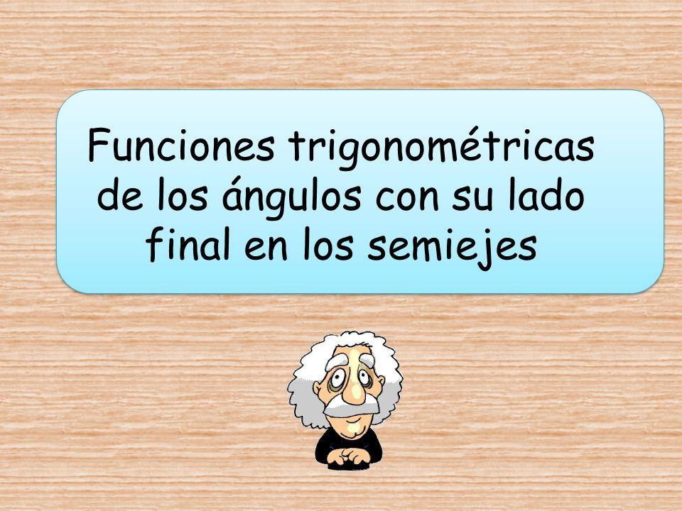 Funciones trigonométricas de los ángulos con su lado final en los semiejes