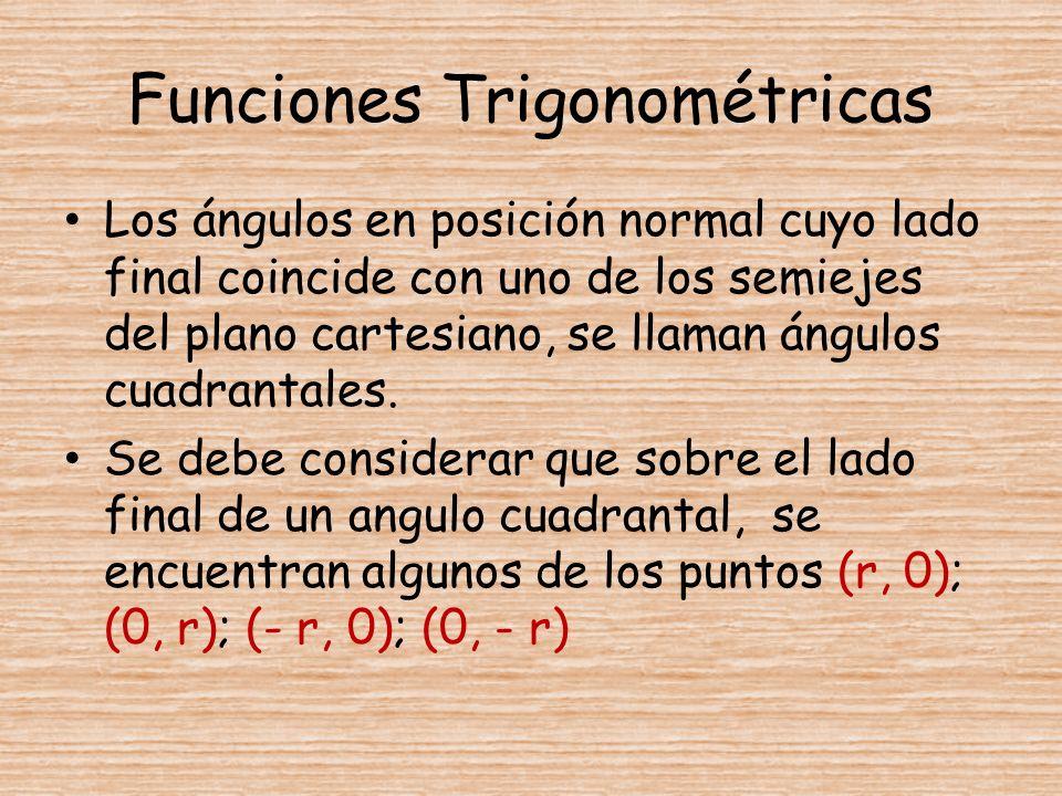 Funciones Trigonométricas Los ángulos en posición normal cuyo lado final coincide con uno de los semiejes del plano cartesiano, se llaman ángulos cuad