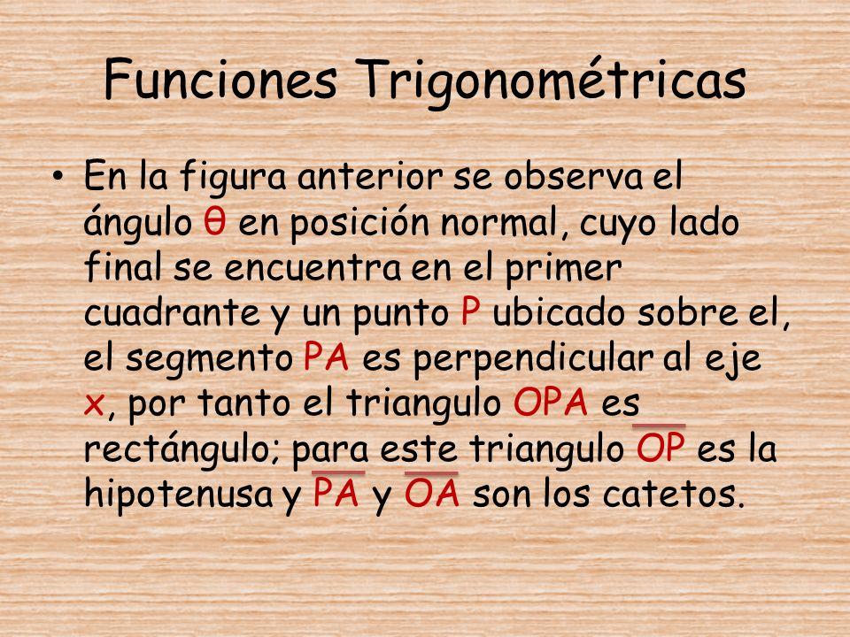 Funciones Trigonométricas En la figura anterior se observa el ángulo θ en posición normal, cuyo lado final se encuentra en el primer cuadrante y un pu