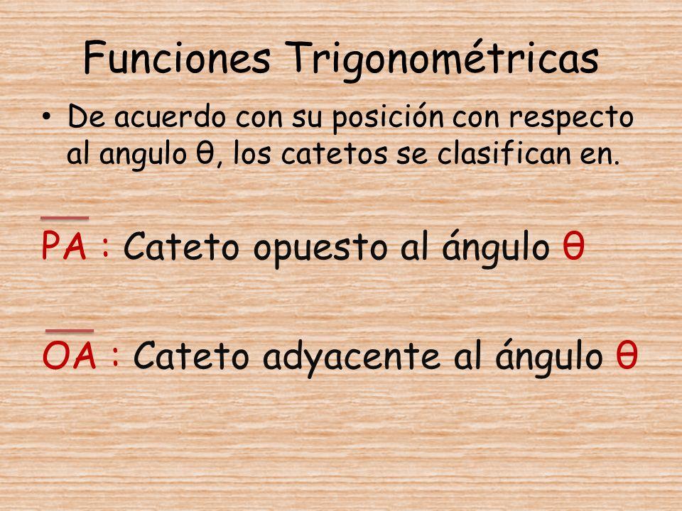 Funciones Trigonométricas De acuerdo con su posición con respecto al angulo θ, los catetos se clasifican en. PA : Cateto opuesto al ángulo θ OA : Cate