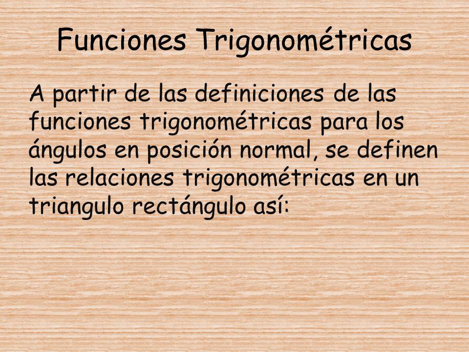 Funciones Trigonométricas A partir de las definiciones de las funciones trigonométricas para los ángulos en posición normal, se definen las relaciones