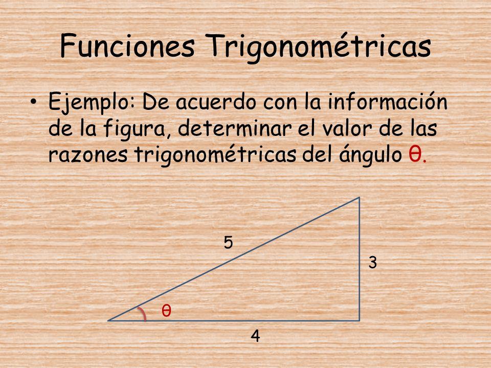 Ejemplo: De acuerdo con la información de la figura, determinar el valor de las razones trigonométricas del ángulo θ. θ 5 3 4