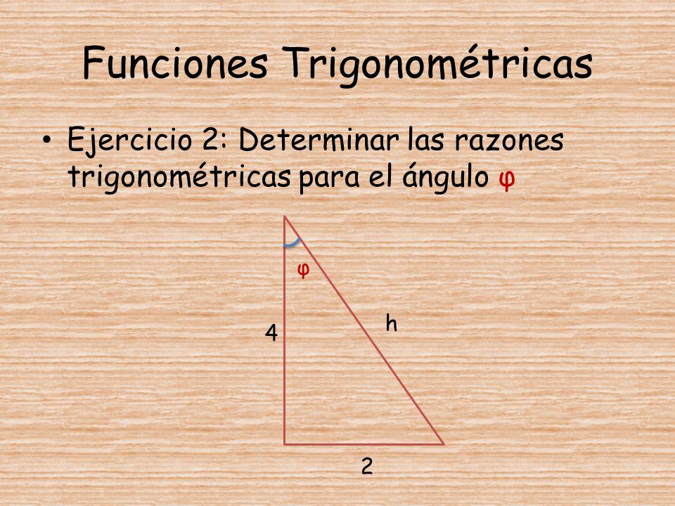 Funciones Trigonométricas Ejercicio 2: Determinar las razones trigonométricas para el ángulo φ 4 2 h φ